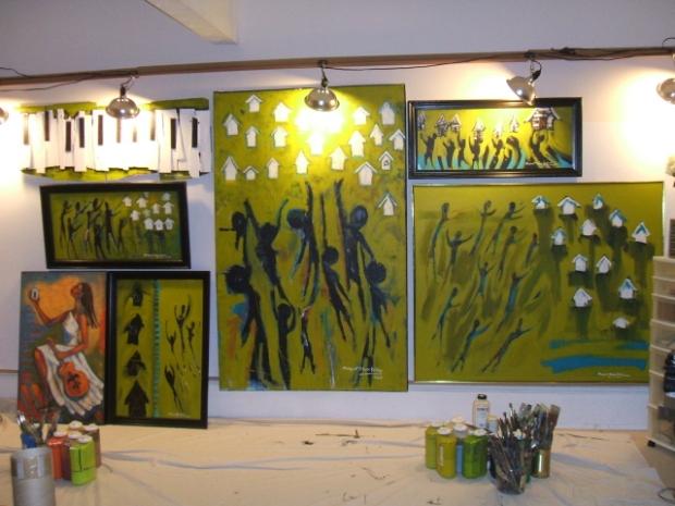 image of artist working in her Atlanta studio